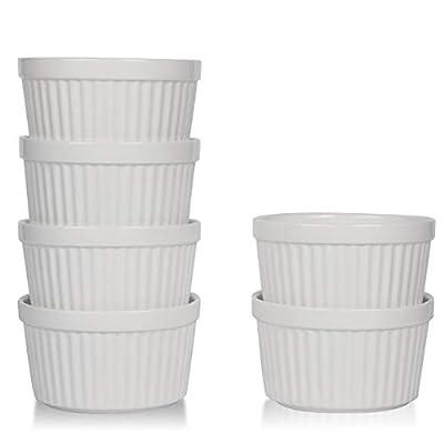 amHomel Porcelain Souffle Dishes Ramekins Bakeware Set, 4 OZ Baking Cups Creme Brulee and Ice Cream, Set of 6, White