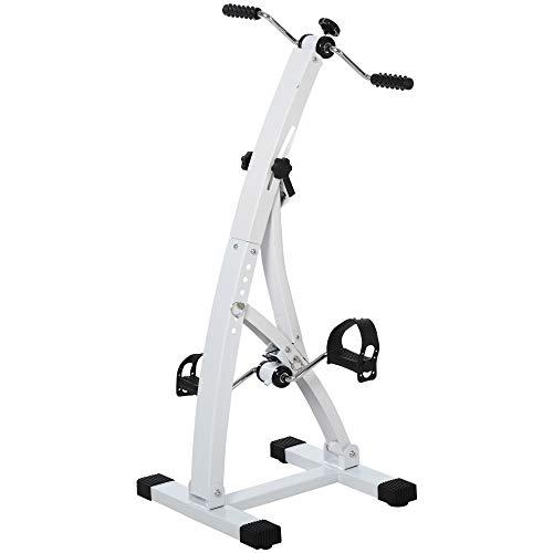 HOMCOM Heimtrainer Bewegungstrainer Pedaltrainer für Senioren Stahl Weiß 41 x 50 x 96cm