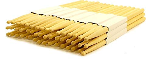 EDMBG Lot of 24 PAIRS - 7B WOOD TIP NATURAL MAPLE DRUMSTICKS - PRO 48 DRUM STICKS NEW