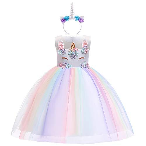 OBEEII Ragazza Vestito Unicorno Ruffles Fiori Festa Principessa Compleanno Battesimo 9-10 Anni