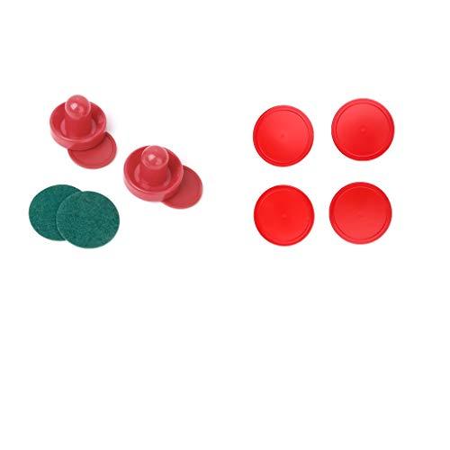 Milageto 2 piezas de plástico Air Hockey Pushers y 6 piezas de repuesto para juegos de mesa.