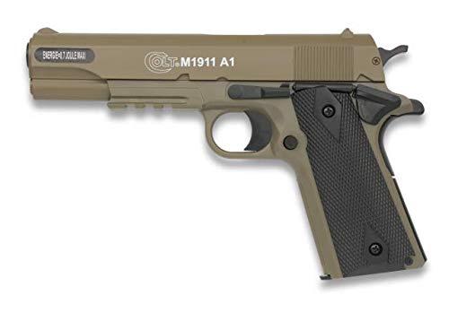 CIBER GUN Pistola Airsoft Colt 1911 Metal Potencia 0,50 Julios Corredera metálica Airsoft Replica Paintball Caza Supervivencia tactico Senderismo Camping Outdoor 38272 + Portabotellas de regal