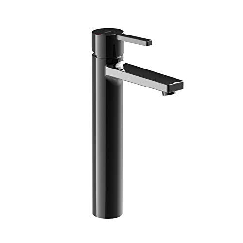 Roca Mezclador grifo monomando para lavabo con caño alto, cuerpo liso, serie Naia, 17 x 14 x 17 centímetros, color negro titanio (Referencia: A5A3B96CN0)