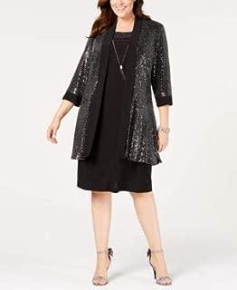 R&M RICHARDS Womens Black Metallic Knit Jacket Plus US Size: 16W