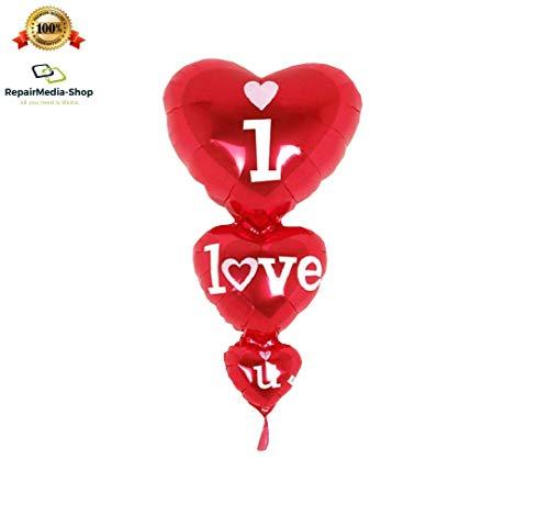 RepairMedia-Shop RM Folienballon P011 XL Folien Aluminium Luft Ballon Herz Liebe Valentinstag Hochzeit I Love You 80cm RM