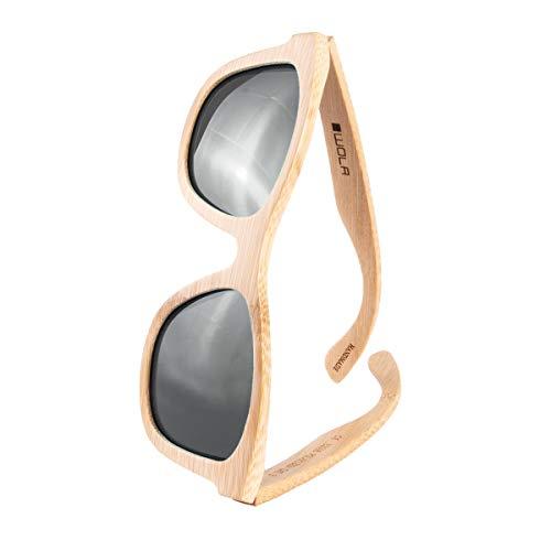 WOLA estilo cuadradas gafas de sol en bambú SURF mujer y hombre madera, sunglasses UV400 - polarisado gris