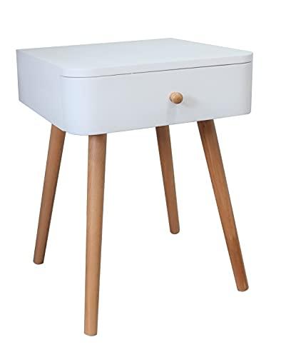 ASPECT Gina Mid Century Nachttisch, modern, zweifarbig, Holz, Weiß/Natur, 40 x 40 x 50(H) cm