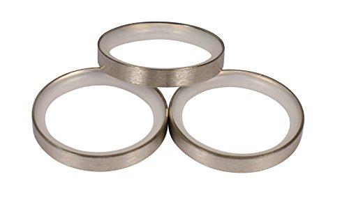 Edelstahl Gardinenringe mit Gleiteinlage für 20 mm Durchmesser Gardinenstangen, 10 Stück
