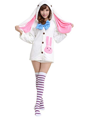 QWZY Girls Anime Costume Outfit Cosplay Rabbit Ears Hoodie Coat and Shorts Flannel Fleece Pajamas Set with Stripe Stocking (White), Large