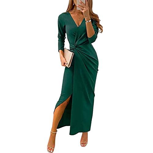 ZhaZhaMeng Vestido de manga larga con cuello en V para mujer, vestido de noche sexy con dobladillo irregular y abertura, verde, M