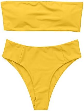 OMKAGI Women s 2 Pieces Bandeau Bikini Swimsuits Off Shoulder High Waist Bathing Suit High Cut product image