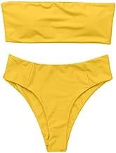 OMKAGI Women's 2 Pieces Bandeau Bikini Swimsuits Off Shoulder High Waist Bathing Suit High Cut(L,Yellow)
