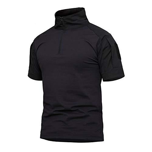 YFNT Uomo Camuffare Colletto Dritto Maglietta Maniche Corte All'aperto Casuale Asciugatura Veloce Traspirante Tattico Militare Camo T Shirt