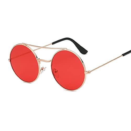 PPCLU Llegada Redonda Gafas de Sol Recubrimiento Retro Mujeres Diseñador Gafas de Sol Mujer Lady Vintage Espejo Gafas (Lenses Color : GoldRed)