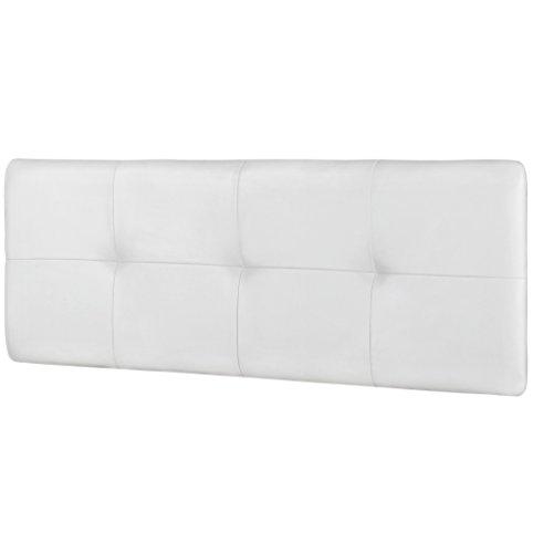 Studio Decor Deva - Cabecero de cama de matrimonio tapizado en polipiel, Blanco,160 x 50 x 3,5 cm