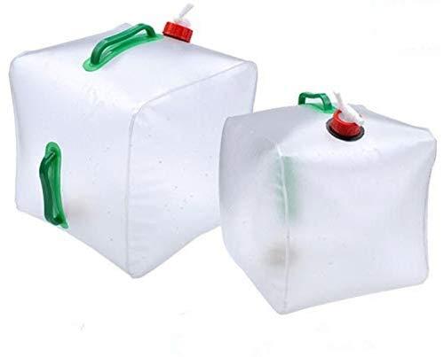 2 bidones de agua plegables de 20 l, bolsa de agua para camping, exterior, transparente, de PVC, para agua potable, para agua potable, protección del medio ambiente e higiene