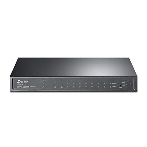 TP-Link TL-SG2210P - Smart Switch a 10 Porte con 8 Porte Poe+ (61 Watt, Gestione Cloud centralizzata, Integrato in Omada-SDN, Supporto IPv6, Rete Sicuro), Colore: Nero