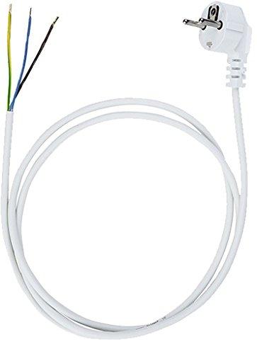 Anschlussleitung Zuleitung Stecker Netzkabel Stromkabel 3-polig 3 x 1,5mm2 (1.5 Meter, Weiss)
