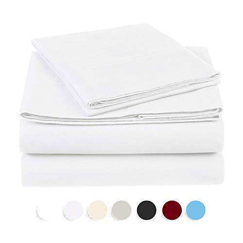 """Moonstone Authentic Organic Cotton Sheet Set fits mattresses up to 15"""" deep 1000 TC Color-White Solid Size Queen"""