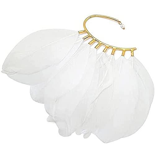 Pendientes for mujeres, Alas de cisne Black Clip-on Pendiente Angel Alas de Angel Alef Puños de oreja, Pendientes de Wrap Wrap Aretes de Fantasía Hada Halloween Traje, Cosplay, Boda (Color: Negro)