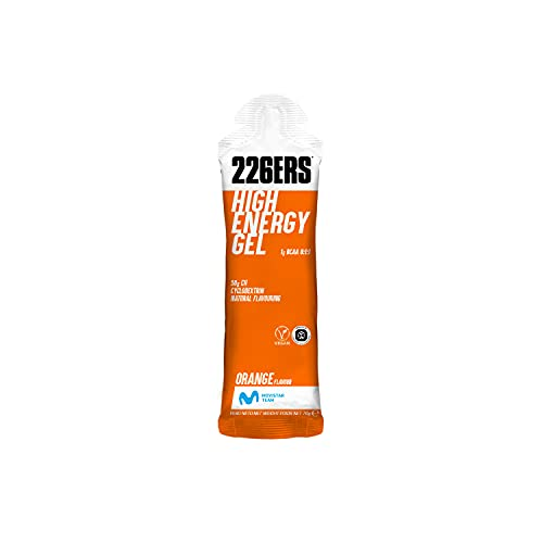 226ERS High Energy Gel | Gel Energetico Vegano con Ciclodestrina come Carboidrato e BCAA 8:1:1, Gel Energetico per Ciclismo e Corsa, Senza doping, Arancione - 1 Unità