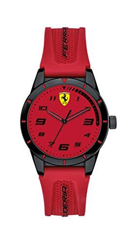 Ferrari Boy's RedRev Quartz TR90 and Silicone Strap Casual Watch, Color: Black (Model: 860006)