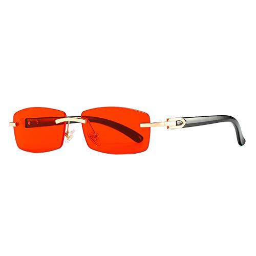 NJJX Gafas De Sol Rectangulares Sin Montura Punk Para Hombres Y Mujeres, Gafas De Sol Clásicas Para Conducir, Gafas De Moda Con Gradiente Sin Marco, 7