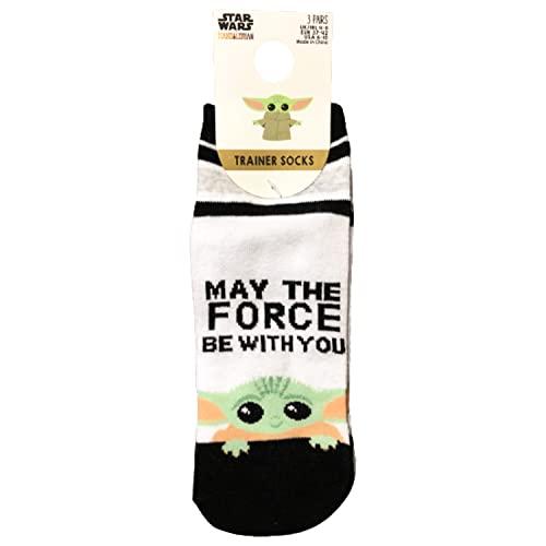 Primark Limited - Pack 3 Calcetines de Baby Yoda Negro, Gris y Blanco - Calcetines Grogu Oficiales - para Mujer UK 4-8 EUR 37-42