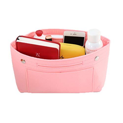 Handbag Organiser Insert, Bag Insert with Handles Keychain, Felt Bag Organiser Insert Handbag Liner Tote Insert Travel Purse (S,Pink)