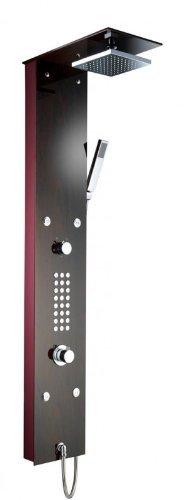 Pannello doccia in vetro XXL'Mahagoni' con 4 getti di massaggio termostato