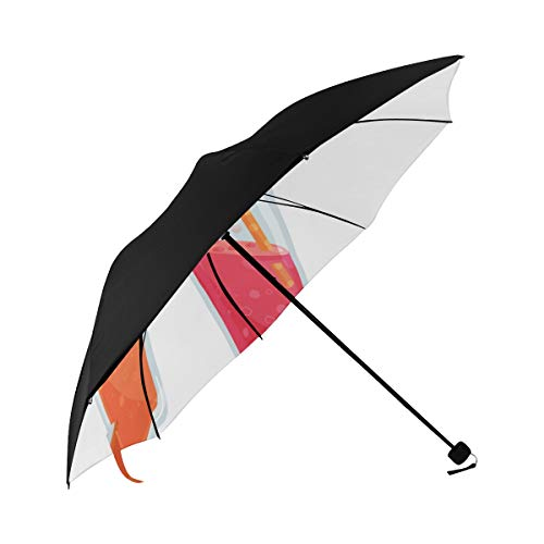 Parasole Umbrella Summer Cool Soda Water Bottle Straw Underside Printing Umbrella For Boys Best Compact Umbrella Large Umbrella Foldable With 95% Uv Protection For Women Men Lady Girl