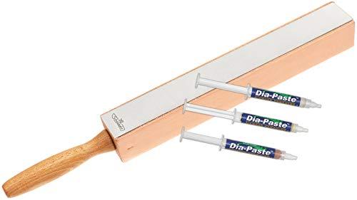 Diamantleder-Streichriemen mit Diamantschärfer inkl. 3er Set Diamant Polierpaste | Messer schärfen in Sekunden | Einmaliges Abziehleder | Rasierscharfe Ergebnisse