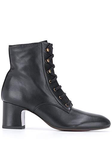 Chie Mihara NAKO Stiefel aus schwarzem Leder mit Schnürung Details an den Ösen und 7 cm Absatz halber Schaft, Schwarz - Schwarz - Größe: 40 EU
