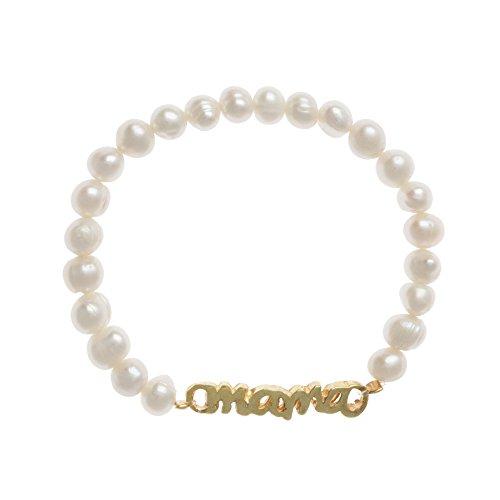 Córdoba Jewels   Pulsera de Perlas de Plata de Ley 925 bañado en Oro con diseño Mamá Perla de 33mm.Ajustable