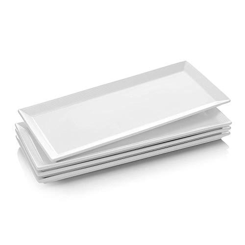 Dowan Teller Rechteckig, Servierplatten Keramik, Rechteckige Teller aus Porzellan, Speiseteller für Fleisch, Fisch, Sushi, Gericht usw. Neutral Weiß, 4 Stück