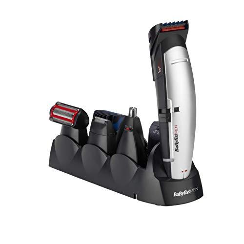 BaByliss For Men E837E X-10 Kit multiaccessoriato per rasatura e depilazione, Uomo, viso, capelli e corpo, nero, grigio