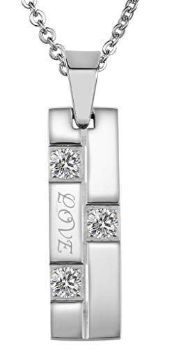 ANAZOZ Edelstahl Halskette Herren Kette Anhänger CZ Cut Square Liebe Eingraviert Polished Silber