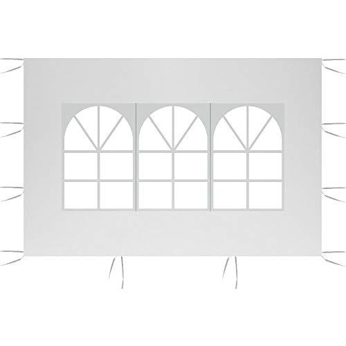Pannelli Laterali per Tenda, 3*2M Gazebo Giardino Tenda Impermeabile Pieghevole Antipioggia Resistente ai Raggi UV per Feste, Campeggio, Spiaggia(Includere Solo un Lato) (Bianca, Avere Finestra)