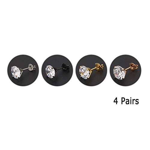 KnBob Stud Earrings Silver Black Gold Rose Gold 4 Pairs Round Four-Claw Inlaid Zirconia Earrings Stainless Steel for Women Men