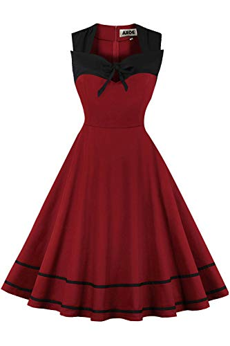 AXOE Damen Partykleid Einfarbig Swing Kleid 50er Jahre A Linie ?rmellos Weinrot Gr.38, M