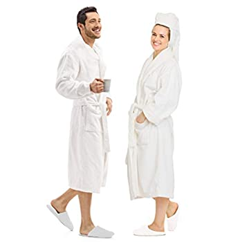SOFTILE COLLECTION Luxury Bathrobe Towel 100% Cotton  Spa Robe Combed Terry Cotton Cloth for Men Women Cotton Lightweight Unisex White Medium