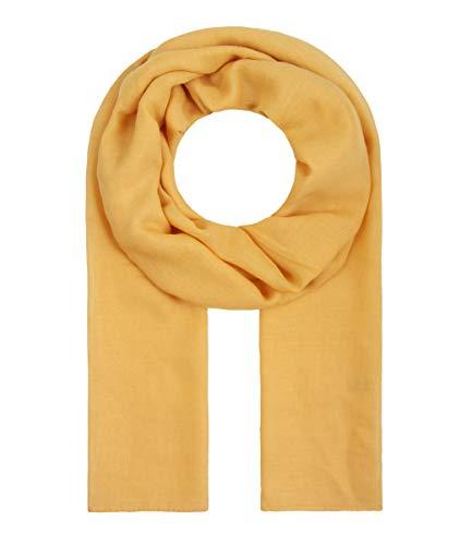 Majea Tuch Lima schmal geschnittenes Damen-Halstuch leicht uni einfarbig dünn unifarben Schal weich Sommerschal Übergangsschal, 180cm x 50cm, Senf-gelb