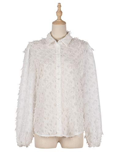 FDSNFV Camisa de Mujer Blusa de Manga Larga Informal con Botones Camisa de Túnica de Poliéster Suelta Top