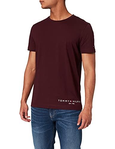 Tommy Hilfiger Hilfiger Logo tee Camiseta, Borgoña Profunda, M para Hombre