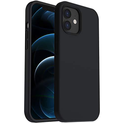 ORNARTO Funda para iPhone 12 Mini 5, 4# de Silicona Líquida Reforzada,  Protección de Cuerpo Completo de Goma Antichoque Bumper de Protección Case para iPhone 12 Mini(2020) 5, 4 Negro