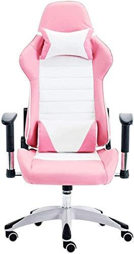 Ergonómico Ordenador Silla de Oficina reposabrazos Ajustable, reclinable, de Respaldo Alto PU giratoria de Piel de Videojuegos for sillas de Apoyo for la Cabeza de Apoyo Lumbar Sillón (Color : Pink)