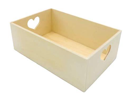 Caja de Madera con Asas en forma de Corazón Práctica Cesta guarda todo Abierta para Útiles de Hogar Cajón Organizador de Oficina Ideal escritorio color natural para decorar a su gusto y regalar (22cm)