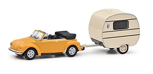 Schuco VW Escarabajo Cabrio con Remolque de Caravana, Knaus Nido de Golondrinas, Modelo de Coche, Escala 1:87 (452651300)