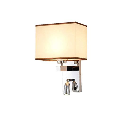 Wandleuchte E27- Led Schlafzimmer Kopfteil Wandleselampe Postmoderne Stofflampenschirm Edelstahl Wandleuchte 304, C-L