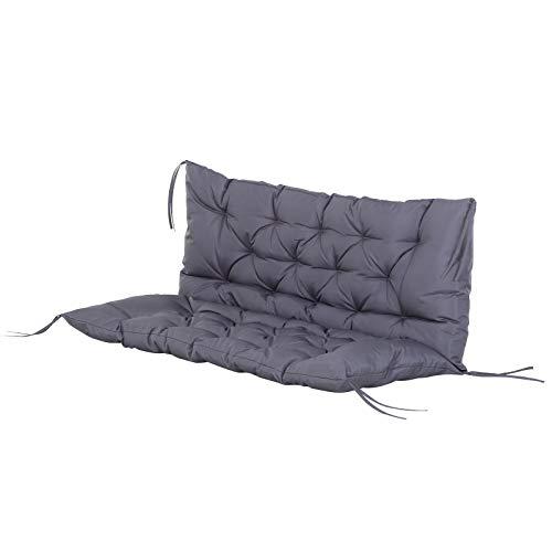 Outsunny Coussin Matelas Assise Dossier pour Banc de Jardin balancelle canapé 2 Places Grand Confort 120 x 110 x 12 cm Gris